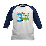 Truck Birthday Boy 3 Kids Baseball Jersey