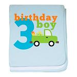 Truck Birthday Boy 3 baby blanket