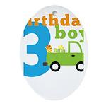 Truck Birthday Boy 3 Ornament (Oval)