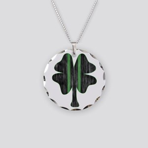 Vintage Racing clover Necklace Circle Charm