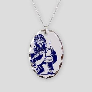CATCHER *1* {blue} Necklace Oval Charm