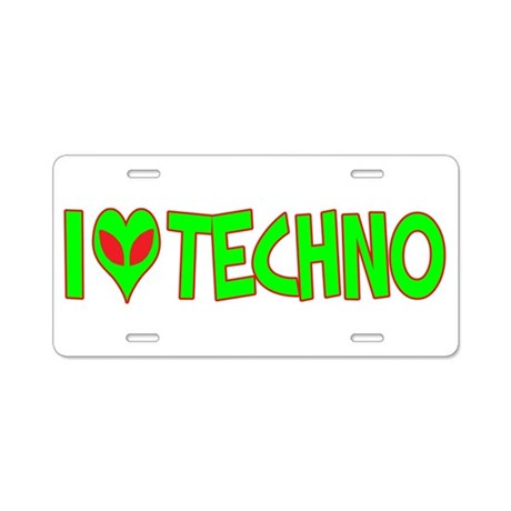 I Love-Alien Techno Aluminum License Plate