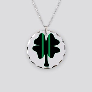 Green & Black Racing Clover Necklace Circle Charm