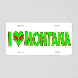 I Love-Alien Montana Aluminum License Plate