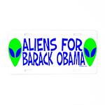 Aliens For Barack Obama Aluminum License Plate