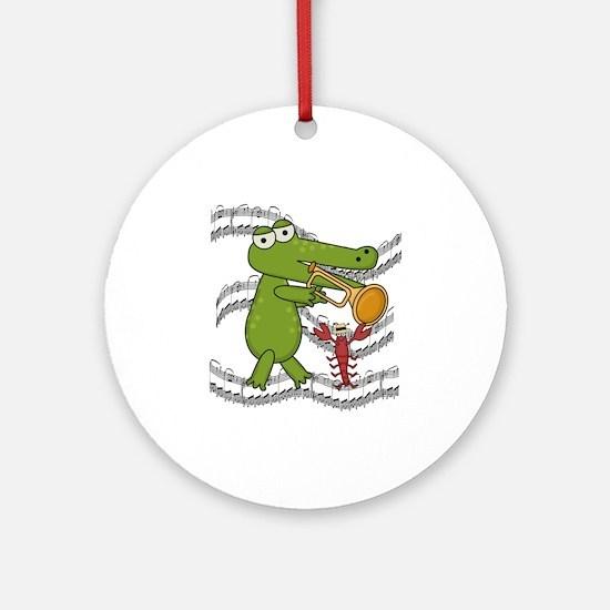 Crocodile With Trumpet Ornament (Round)
