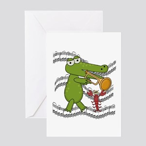 Crocodile With Trumpet Greeting Card