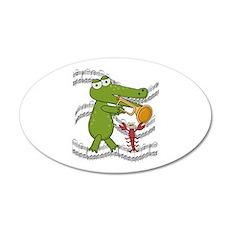 Crocodile With Trumpet 22x14 Oval Wall Peel
