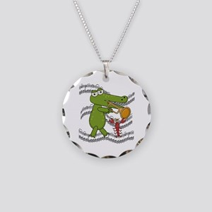 Crocodile With Trumpet Necklace Circle Charm