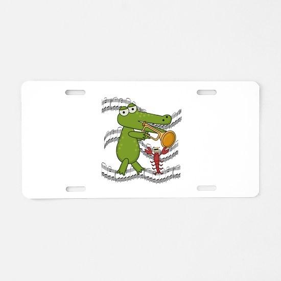 Crocodile With Trumpet Aluminum License Plate