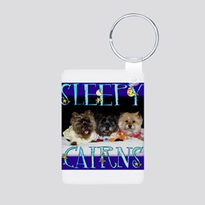 Sleepy Cairn Terriers Aluminum Photo Keychain