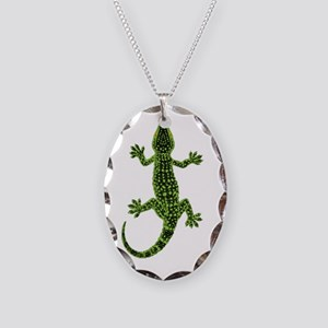 Gecko Necklace Oval Charm