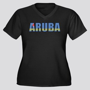 Aruba Women's Plus Size V-Neck Dark T-Shirt