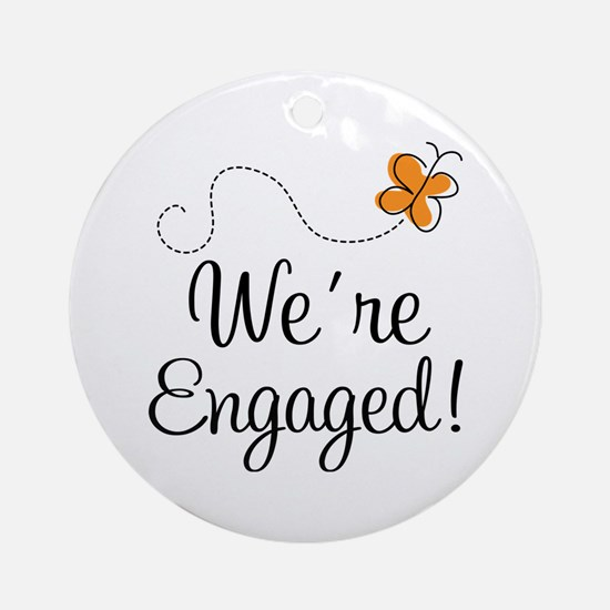 Orange Butterfly Engagement Ornament (Round)