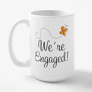 Orange Butterfly Engagement Large Mug