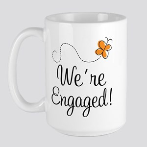 Orange Butterfly Engagement Large Mug