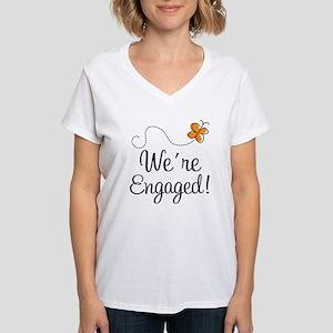 Orange Butterfly Engagement Women's V-Neck T-Shirt