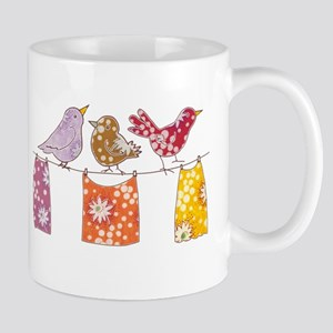 """Purple and Red Birdies"" Art Mug"