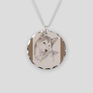 Siberian Husky Necklace Circle Charm
