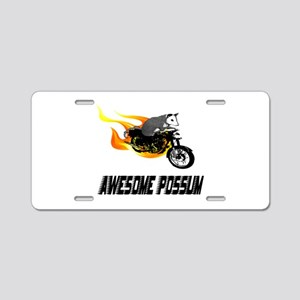 Flaming Awesome Possum Aluminum License Plate