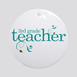 3rd Grade Teacher Swirl Ornament (Round)