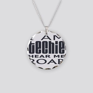 Techie Roar Necklace Circle Charm