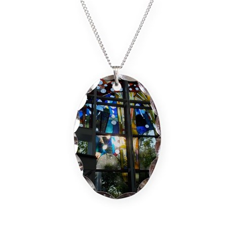 Stained Glass Necklace Oval Charm