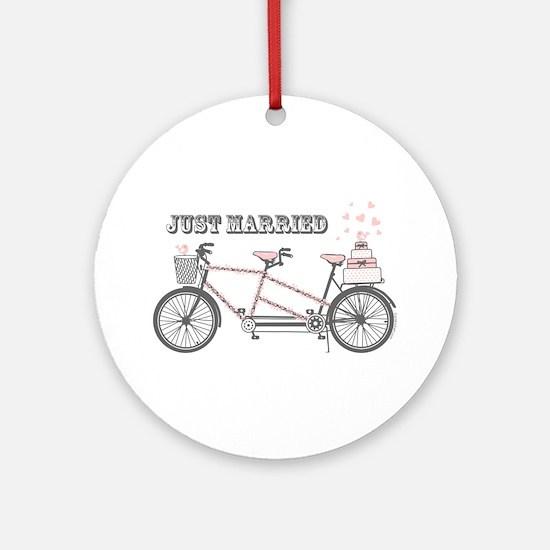 Tandem Bicyle Wedding Ornament (Round)