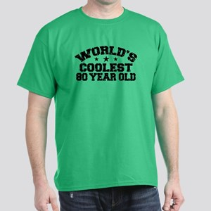 World's Coolest 80 Year Old Dark T-Shirt