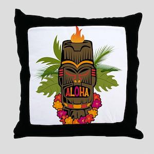 Tiki Aloha Throw Pillow