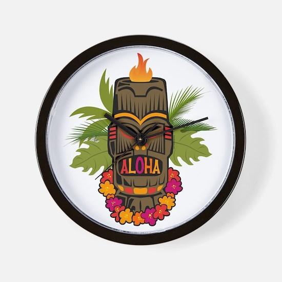Tiki Aloha Wall Clock