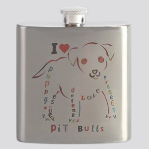 Pit Bull Puppy Typography Flask