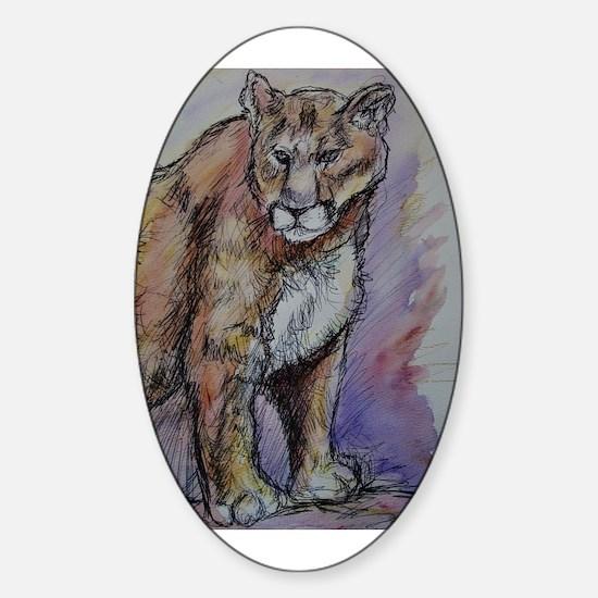 Mountain Lion, Wildlife, Sticker (Oval)