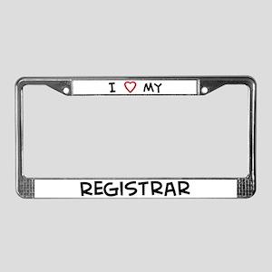 I Love Registrar License Plate Frame