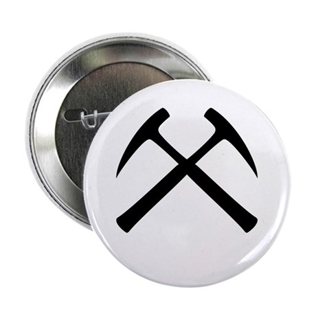"""Crossed Rock Hammers 2.25"""" Button (10 pack)"""