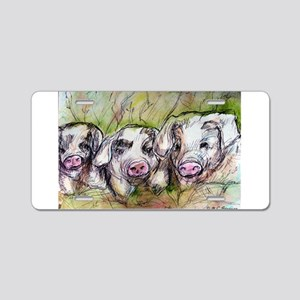 Pigs, 3 Piglets, Cute, Aluminum License Plate