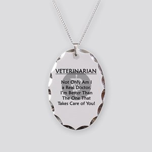 Veterinarian A Real Doctor Necklace Oval Charm