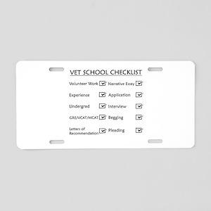 Vet School Checklist Aluminum License Plate