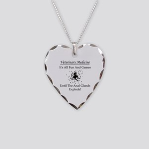 Anal Gland Design Necklace Heart Charm