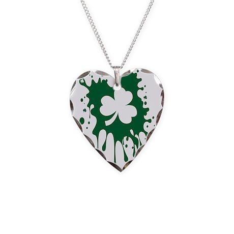 Irish Shamrock Splat Necklace Heart Charm