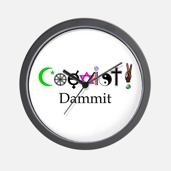 Coexist Dammit! 2 Wall Clock