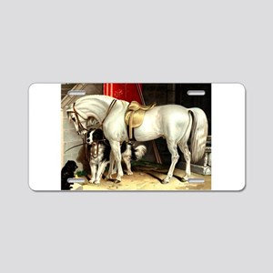 White Horse Aluminum License Plate