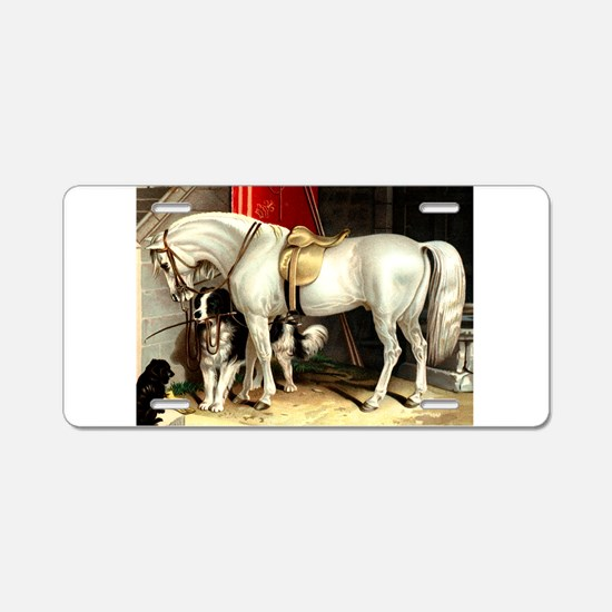 White Horse Aluminum License Plate