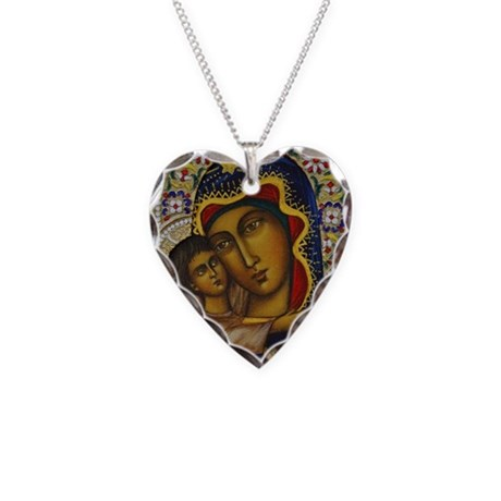 Madonna and Child Necklace Heart Charm