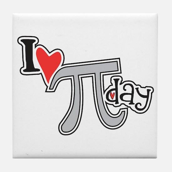 I heart (love) Pi Day Tile Coaster