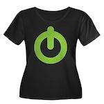 Power Button Women's Plus Size Scoop Neck Dark T-S