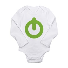 Power Button Long Sleeve Infant Bodysuit