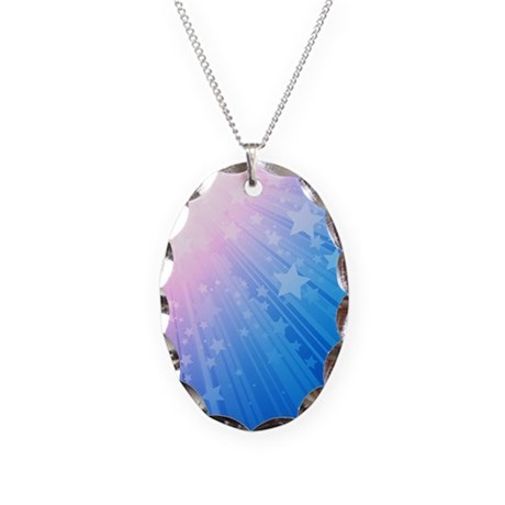 Star Rays Blue Necklace Oval Charm