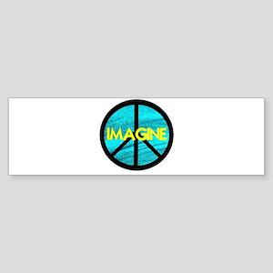IMAGINE with PEACE SYMBOL Sticker (Bumper)