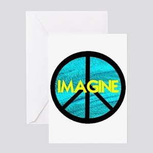 IMAGINE with PEACE SYMBOL Greeting Card
